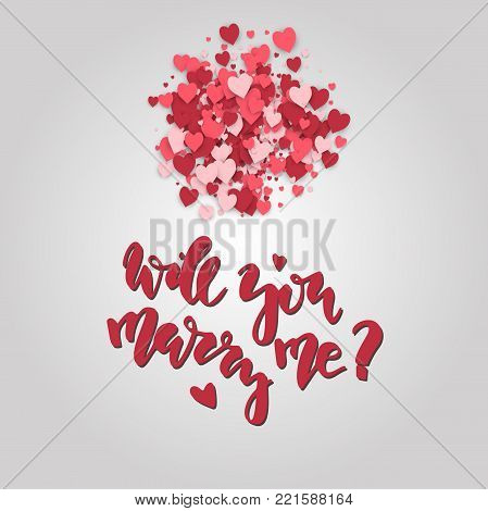 Will you marry me. Hand drawn lettering on the hearts background. Romantic Valentine's Day card. Stock vector