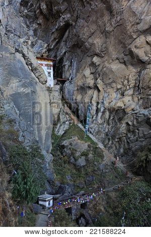 The Lion Cave - meditation house near the Tiger's Nest monastery  (Taktsang Monastery) in Kingdom of Bhutan