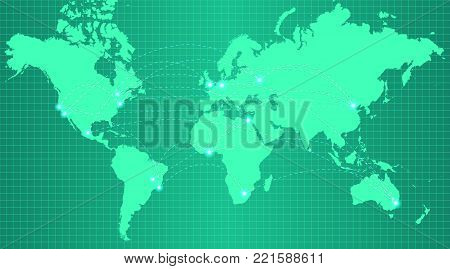 Earth map on trendy green gradient background with grid and all major earth continents - Eurasia, North and South America, Africa, Australia and major world cities shown with glowing dots.