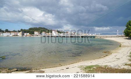O GROVE, SPAIN - SEPTEMBER 15, 2017: Cityscape of O Grove on the coast of Galicia on September 15, 2017 in Spain
