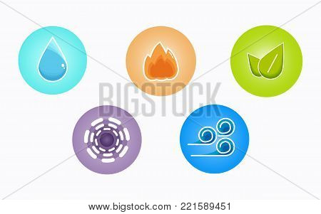 Ayurvedic elements water, fire, air, earth and ether icons isolated on white background. Colorful icons of five elements