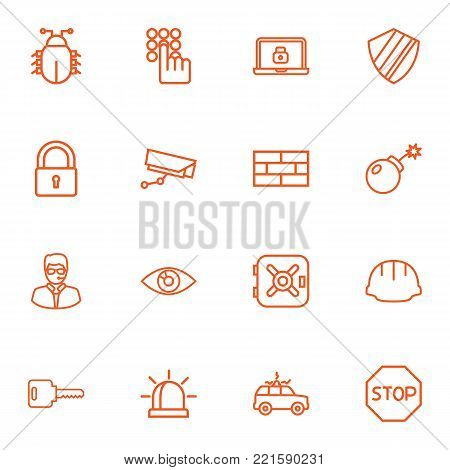Collection Of Vision, Open, Protection And Other Elements.  Set Of 16 Procuring Outline Icons Set.