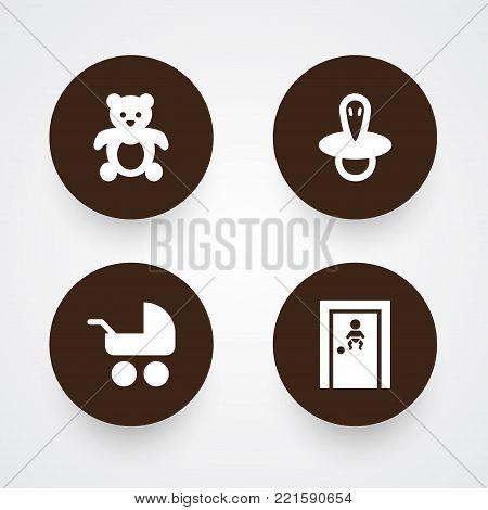 Collection Of Room, Teat, Pram And Other Elements.  Set Of 4 Child Icons Set.