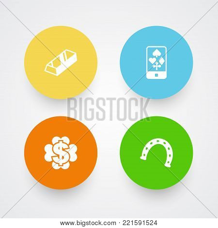 Collection Of Online Casino, Dollar, Bullion And Other Elements.  Set Of 4 Casino Icons Set.