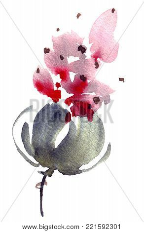 Watercolor and ink illustration of flower with leaves. Sumi-e, u-sin painting. Decorative background for postcard, invitation, greeting card.
