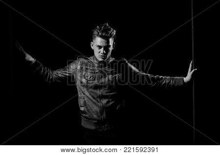 Handsome Man Unbuttoning Vest With Muscular Hands