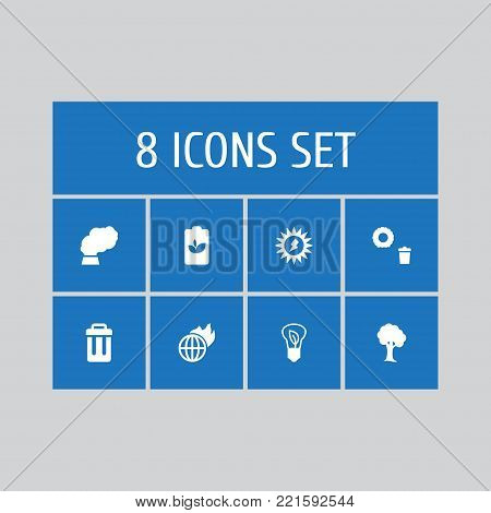 Collection Of Warm, Eco Battery, Container And Other Elements.  Set Of 8 Ecology Icons Set.