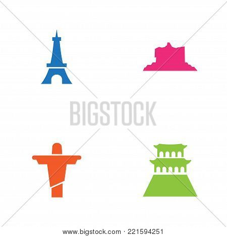 Collection Of Beijing, Rio, Paris And Other Elements.  Set Of 4 Monument Icons Set.