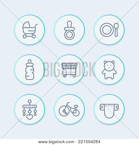 baby line icons set, toys, crib, diaper, tricycle, teddy-bear, pram