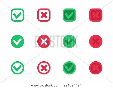 check marks, vector ticks, crosses, red and green over white, eps 10 file, easy to edit