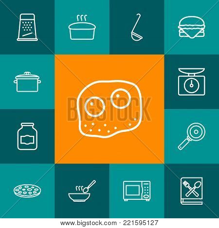 Collection Of Soup, Jug, Pan And Other Elements.  Set Of 13 Culinary Outline Icons Set.