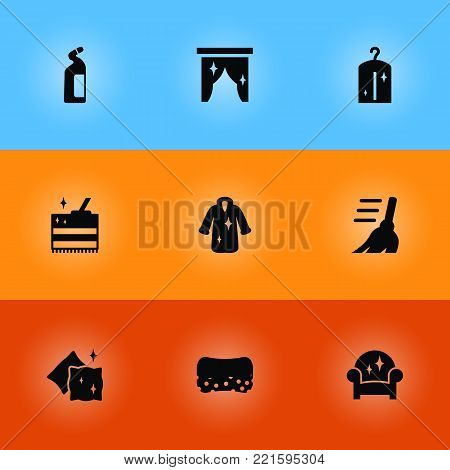 Collection Of Wisp, Clothes, Curtain And Other Elements.  Set Of 9 Harvesting Icons Set.