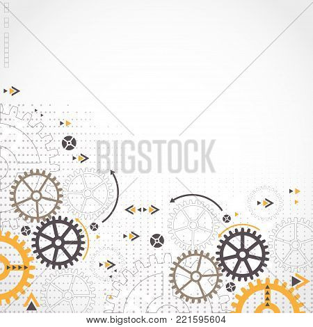 Abstract Technology Background. Cog Wheel Theme
