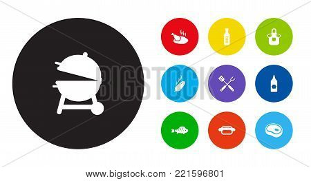 Collection Of Bbq Sauce, Kitchen Uniform, Beefsteak And Other Elements.  Set Of 10 Barbecue Icons Set.