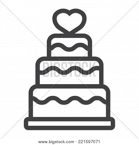 Stacked love cake line icon, valentines day and romantic, wedding cake sign vector graphics, a linear pattern on a white background, eps 10.