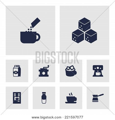 Collection Of Seed Pack, Paper Box, Package Latte And Other Elements.  Set Of 10 Beverage Icons Set.