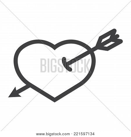 Heart Pierced with Arrow line icon, valentines day and romantic, love sign vector graphics, a linear pattern on a white background, eps 10.