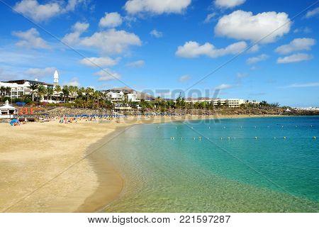 Beach Playa Blanca on the Canary Island Lanzarote, Spain.