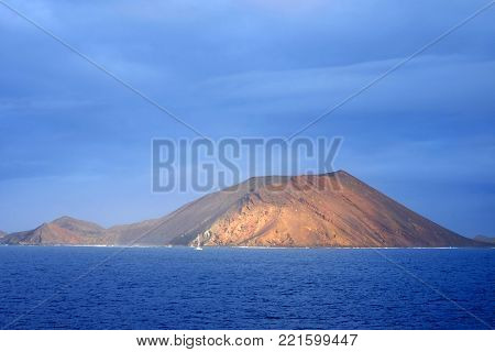 View on the blue ocean and Island Lobos belonging to the Canary Island Fuerteventura, Spain.