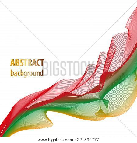 Wave pattern red, green, yellow. Abstract background. Technology layout for book, brochure, magazine covers. Artistic template for invitations, posters, leaflets, flyers, portfolio, web pages, booklets. Vector EPS10 illustration