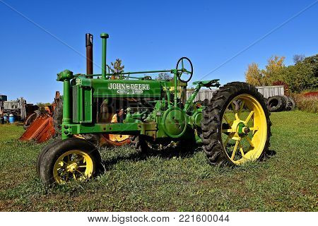 DETROIT LAKES, MINNESOTA, September 26, 2017:  The restored tractor is a General Purpose John Deere  produced by the John Deere Company in Illinois from 1928 through 1953.