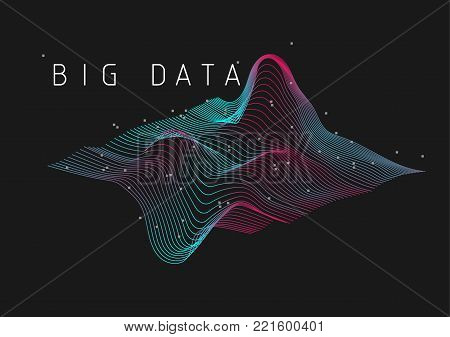 Big Data 3D plot visualization background illustration. Red and cyan flowing lines and data points form a three dimensional plot to visualize big data and information.