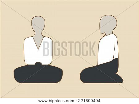 Male japanese Aikido practitioner sitting  in meditation in seiza position. Traditional white gi and black hamaka.