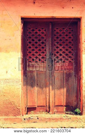 Old door in a abandoned building - countryside of Brazil