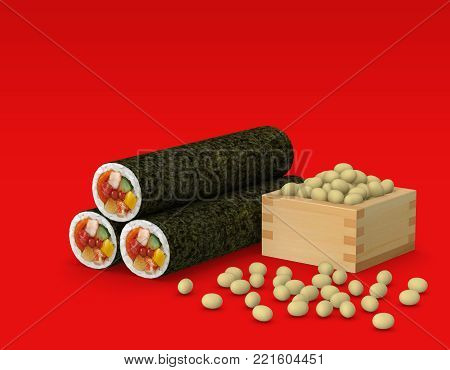 Sushi roll and beans for traditional Japanese event Setsubun, 3D Illustration