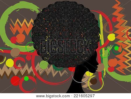 portrait African Women , dark skin female face with curly hair afro and ethnic traditional earrings on vector isolated or batik background , hair style concept