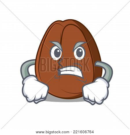 Angry coffee bean mascot cartoon vector illustration