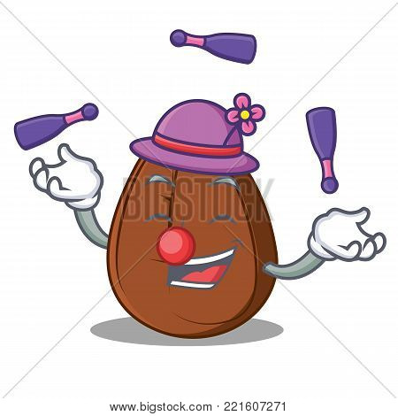 Juggling coffee bean mascot cartoon vector illustration
