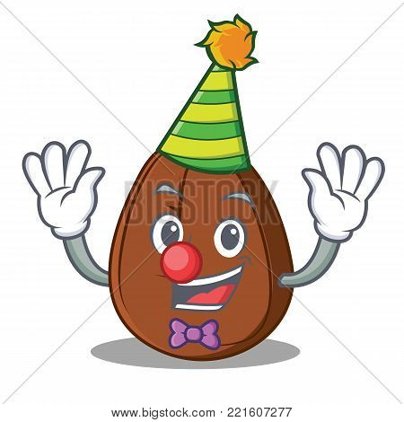 Clown coffee bean mascot cartoon vector illustration