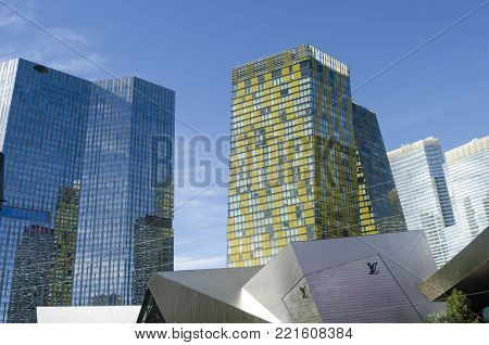 LAS VEGAS, NEVADA, USA- NOVEMBER 11, 2017: The Veer Towers at sunny day. The Veer Towers are luxurious residential buildings opened in 2010 on Las Vegas Strip