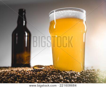 Homebrew Blond Beer On Pilsner Grain Heap