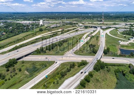 Aerial view of highways, overpasses and ramps in the Chicago suburb of Downers Grove IL. USA