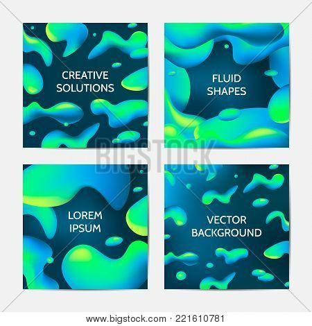 Fluid colors backgrounds set. Trendy abstract fluid shapes with bright gradient colors. Vector illustration.