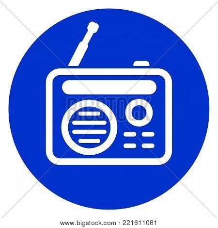 Illustration of radio blue circle icon concept