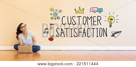 Customer Satisfaction text with young woman using a laptop computer on floor