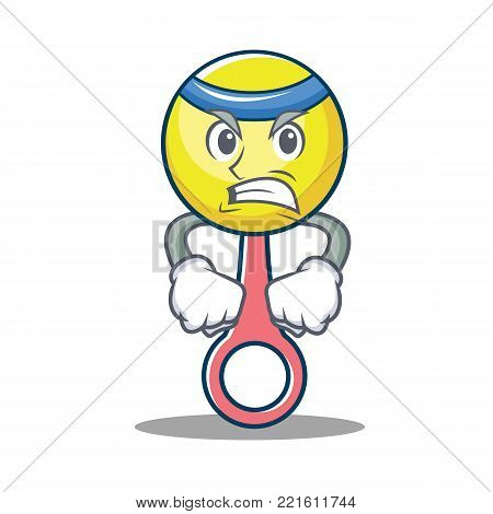 Angry rattle toy mascot cartoon vector illustration
