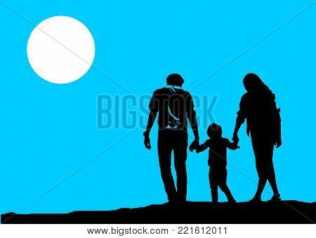 Happy family image, parents and son walking in the same way. The concept for the same family purpose (illustration)