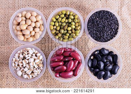 Many types of beans are separated in a cup on a sack. green bean, soybean, black bean, red bean, poppy seed and pivot