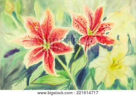Greeting card with Lilly flowers. Pastel colors beauty spring nature,and green leaf in abstract background. Handmade watercolor painting landscape illustration.