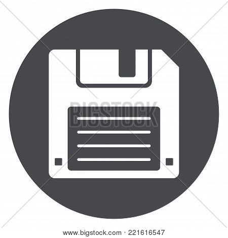 Illustration of floppy disk gray circle icon