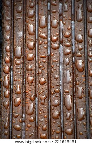water drops beads off on impregnated wood