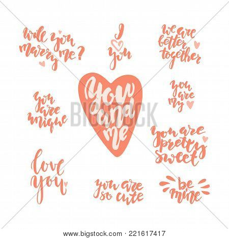 Hand drawn letterind love quotes to the St. Valentinne's Day. Stock vector