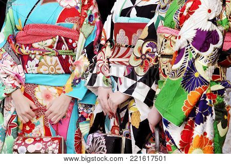 Young Japanese women wearing kimono for the coming of age day celebration