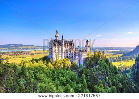 Summer view of Neuschwanstein Castle and Bavaria Alps, Fussen, Germany