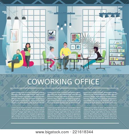 Coworking office concept with place for your text. Coworking template. Flat style vector illustration.