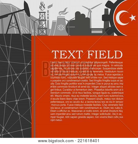 Energy and Power icons set. Sustainable energy generation and heavy industry. Field for text. Modern brochure, report or leaflet design template. Flag of Turkey in gear